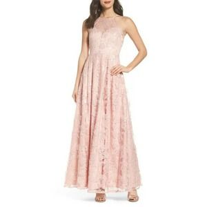 Morgan & Co Lace-Up Back Embroidered Gown Blush 10